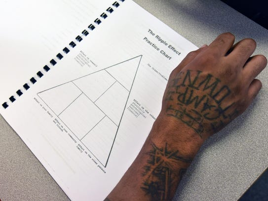 Inmates are given workbooks that explain how their