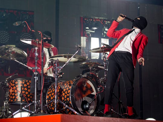 Twenty One Pilots performs at the KFC Yum! Center as part of their Emotional Roadshow World Tour.