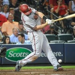 Arizona Diamondbacks Paul Goldschmidt hits an RBI triple against the Philadelphia Phillies in the 5th inning on Wednesday, Aug. 12, 2015 at Chase Field.