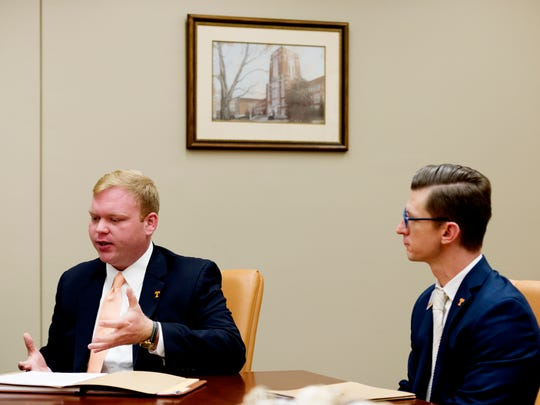 Trey Robb, assistant director in the Office of Sorority and Fraternity Life, left, and Danny Glassman, associate dean of students, speak about the new hazing prevention team on the University of Tennessee campus in Knoxville, Tennessee on Wednesday, October 25, 2017. UT's Division of Student Life is implementing a new hazing prevention team.