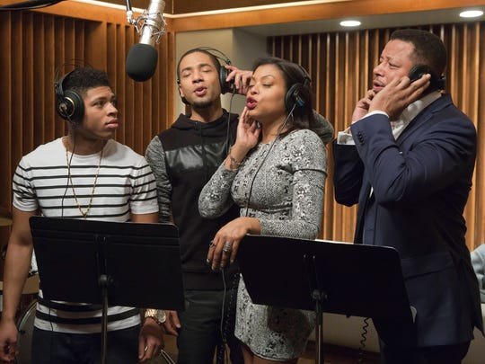 "In this image released by Fox, Bryshere Gray, from left, Jussie Smollett, Taraji P. Henson and Terrence Howard appear in a scene from ""Empire."" The music industry drama ""Empire"" was one of TV's biggest hits upon its January debut, almost single-handedly keeping Fox afloat. That wasn't enough to earn a best drama nomination, and lead actor Terrence Howard was also overlooked. Taraji P. Henson's best actress nod prevented a shutout in the major awards."