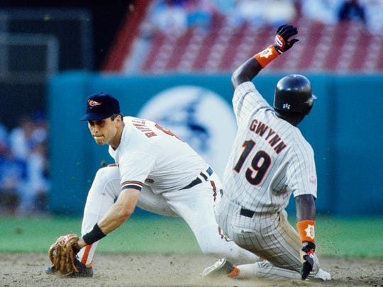 Jul 11, 1989; Anaheim, CA, USA; FILE PHOTO; San Diego Padres rightfielder in action against Baltimore Orioles shortstop Cal Ripken during the 1989 MLB All Star Game at Anaheim Stadium. The AL All-Stars defeated the NL All-Stars 5-3. Mandatory Credit: Richard Mackson-USA TODAY Sports