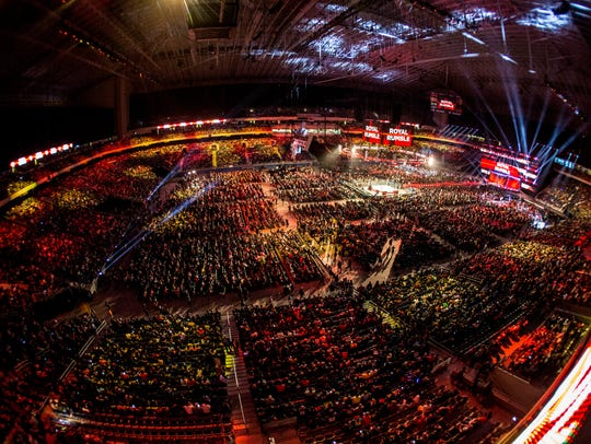 An aerial shot of the 2017 Royal Rumble, which was