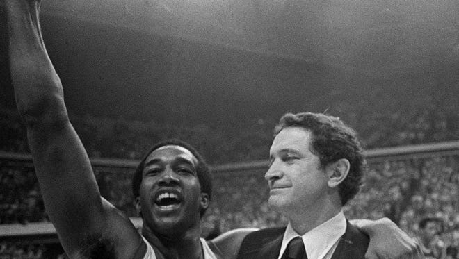 Butch Lee and head coach Al McGuire helped Marquette win the 1977 NCAA championship.