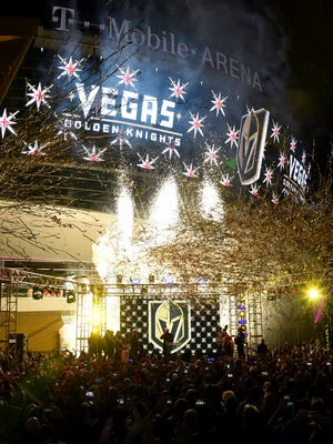 Pyrotechnics and streamers are fired into the air as the Vegas Golden Knights is announced as the name for the Las Vegas NHL franchise at T-Mobile Arena on Nov. 22, 2016 in Las Vegas. The team will begin play in the 2017-18 season.
