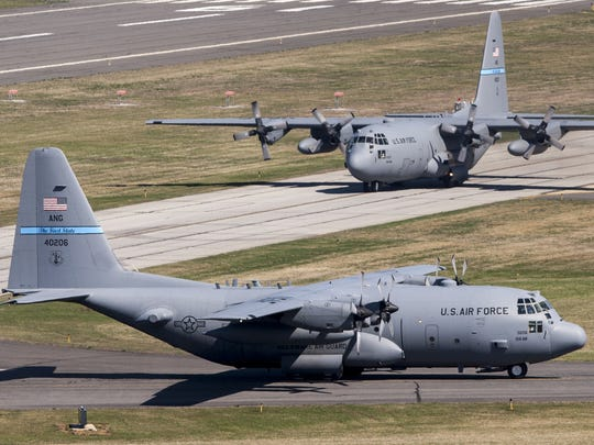 Delaware Air National Guard C-130s begin taxiing into position for an April training flight at the New Castle Air National Guard Base.