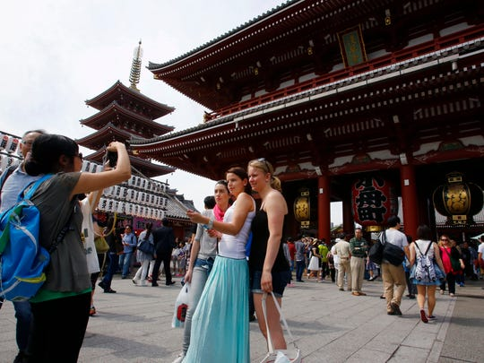 Foreign tourists take a picture at Sensoji Temple in