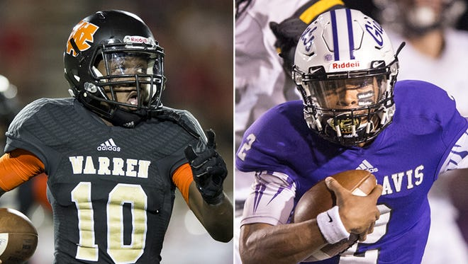 Warrren Central's Dean Tate (left) and Ben Davis' Reese Taylor (right) will players to watch Friday night.