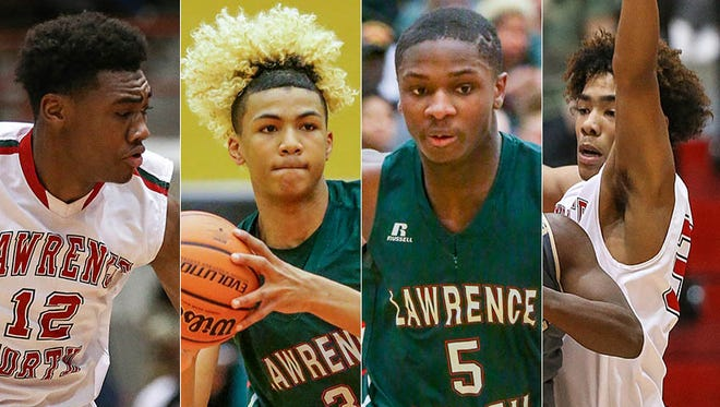 Left to right: Lawrence North's Tony Perkins, Mike Saunders Jr., Jared Hankins and D.J. Hughes.