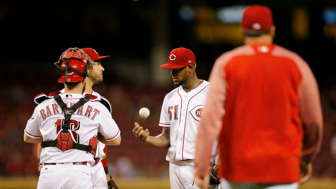Cincinnati Reds starting pitcher Lisalverto Bonilla (51) is pulled in the top of the sixth inning against the Colorado Rockies on Friday, May 19, 2017.