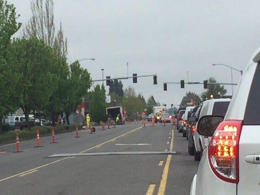 storm pipe repairs causes Keizer lane closurse