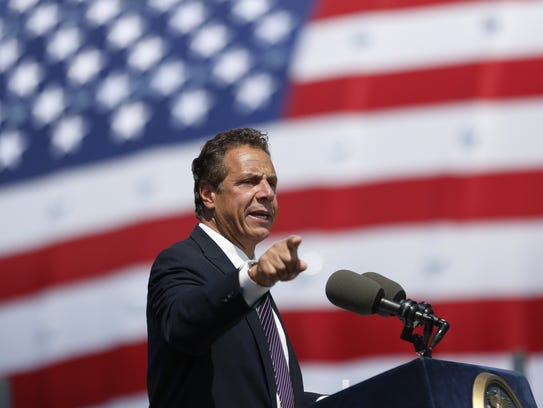 Gov. Andrew Cuomo speaks during a ribbon-cutting ceremony