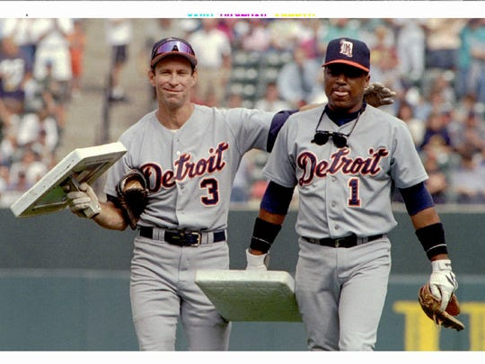 The Tigers' Alan Trammell, left, and Lou Whitaker walk