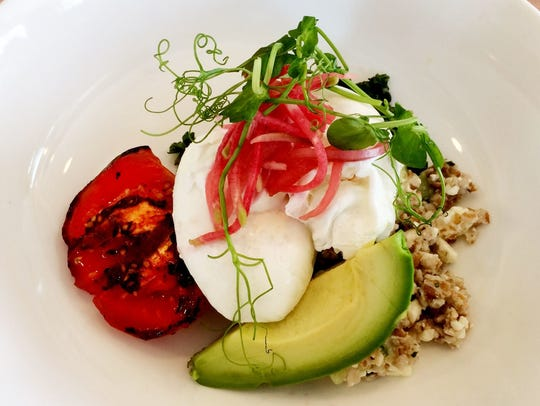 The Egg Bowl with poached eggs, cucumber-feta bulghur,