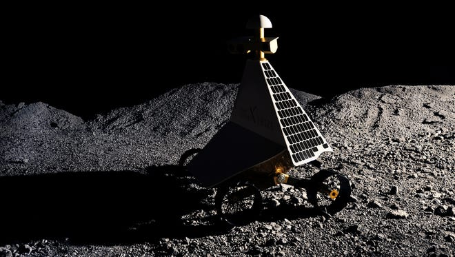 """The """"Red Rover,"""" pictured on the moon in this illustration, is Pittsburgh-based Astrobotic Technology's lunar vehicle. Astrobotic is one of five international teams named milestone finalists in the Google Lunar XPRIZE challenge. The lander has a mass of more than half a metric ton and is about the size of a small SUV. It will release a rover about the size of a go-cart. The team's rover will explore a lunar skylight thought to be an entrance to a subsurface cave network."""