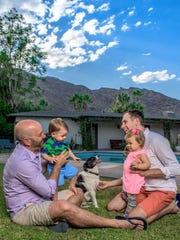 Parenting has been a rewarding experience for Kurt Meisenbach and Steve Simonian, who spend family time with their twins, Ethan and Eva, and Jack the dog at their Palm Springs home.