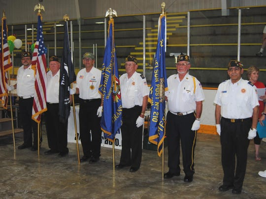 Honor Guard members of the American Legion and VFW. From left: Clint Peachey, Merle Schouten, Don Pausma, John Williamson, George Peachey and Frank Mesa.