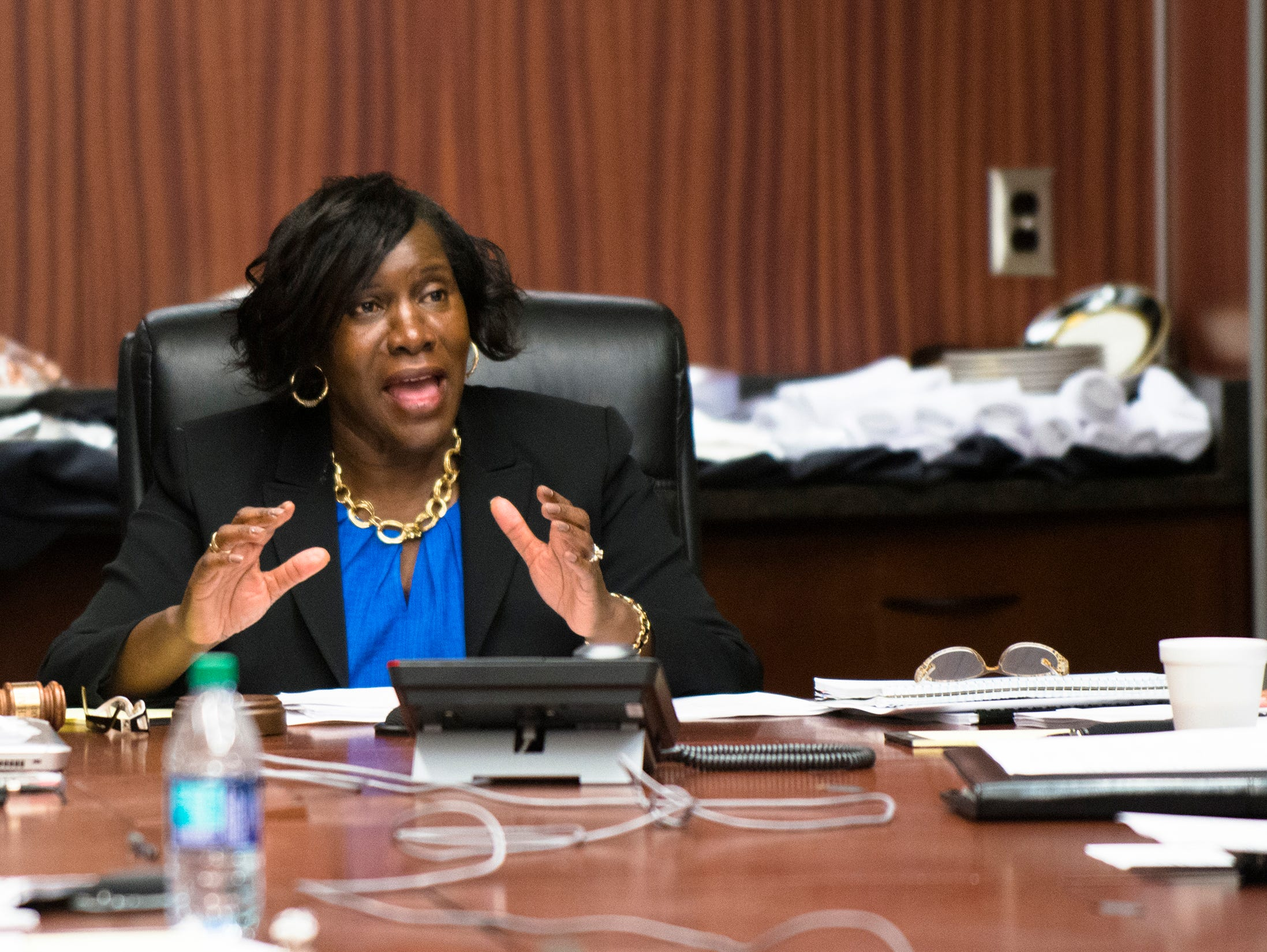 Alfreda Warner Green, ASU Board Chair, speaks during a committee meeting on Wednesday, April 12, 2017, in Montgomery, Ala.
