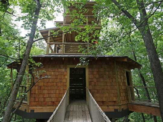 A four-story, 45-foot-tall treehouse is the center of a new interactive nature cove for kids called Treetop Outpost at Conner Prairie. The treehouse is surrounded by work and play stations that interact with the natural history of Indiana.