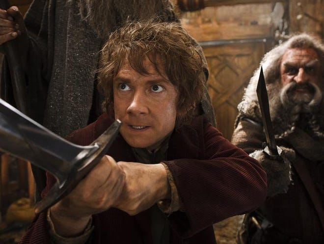 """Martin Freeman (left) and John Callen are shown in a scene from """"The Hobbit: The Desolation of Smaug."""""""
