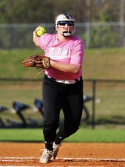 Katie Turner winds up to throw a pitch during McNairy