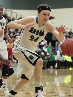 Lauren Van Kleunen of Mason runs down a rebound to keep the Comets on offense. Lakota West and Mason met on Saturday, Jan. 9, 2015, at Mason High School.