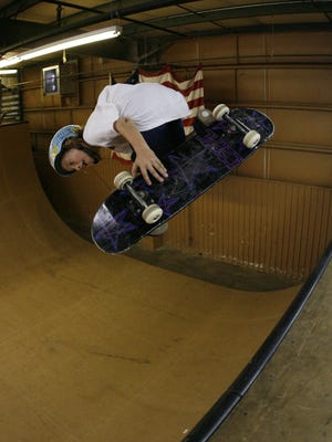 A 12-year-old Clay Kreiner skates at the No Name Skate Park, June 28, 2007.  Now 19, he'll compete in the X Games Austin in June. PATRICK COLLARD/Staff