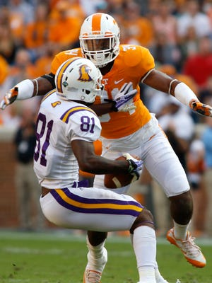 Tennessee's Darrin Kirkland Jr. goes for a tackle against Tennessee Tech's Austin Hicks during a game in 2016.