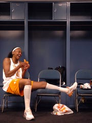 Tennessee's Alex Fuller (44) shares a laugh with her teammates before the start of their Monday practice at St. Pete Times Forum in Tampa, FL. 