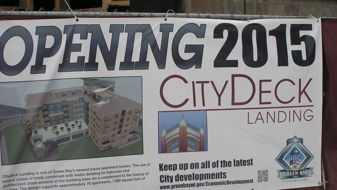 Detail of CityDeck Landing apartment building.
