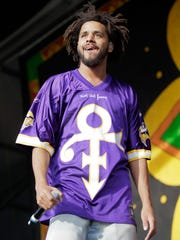 J.Cole performs at Jazz Fest on April 24, 2016.