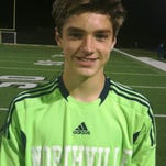 Northville junior goalie Evan Treiber made a key save with 6:40 to play in a 3-1 win over Salem.