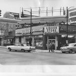 """The future Founders Square site at Fifth and Walnut streets downtown was a busy commercial area, shown here in 1966, before it was converted in the late 1960s to an """"urban plaza."""""""