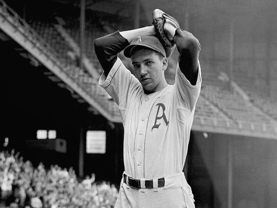Philadelphia Athletics pitcher Dick Fowler in June of 1942.