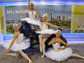 Russian-themed ballerinas representing St. Petersburg's airport paid a visit to Milwaukee airport's Harley Davidson-themed event to create one of the most interesting spectacles on this year's Routes 2013 exhibition floor.
