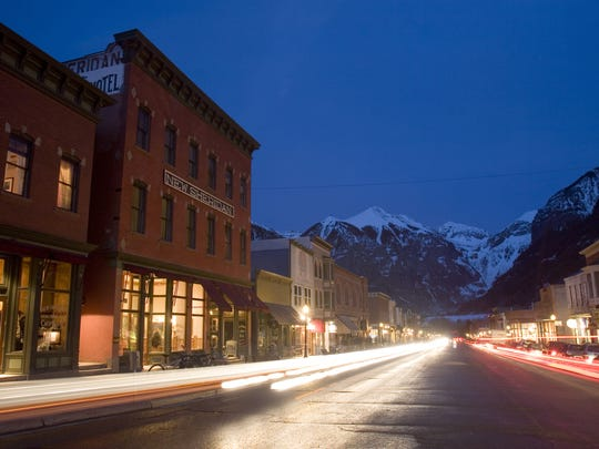 Downtown Telluride's main drag is lined with shops, restaurants and quaint hotels.