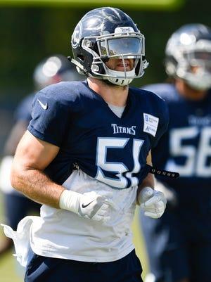 Titans linebacker Will Compton warms up at practice Tuesday at Saint Thomas Sports Park.