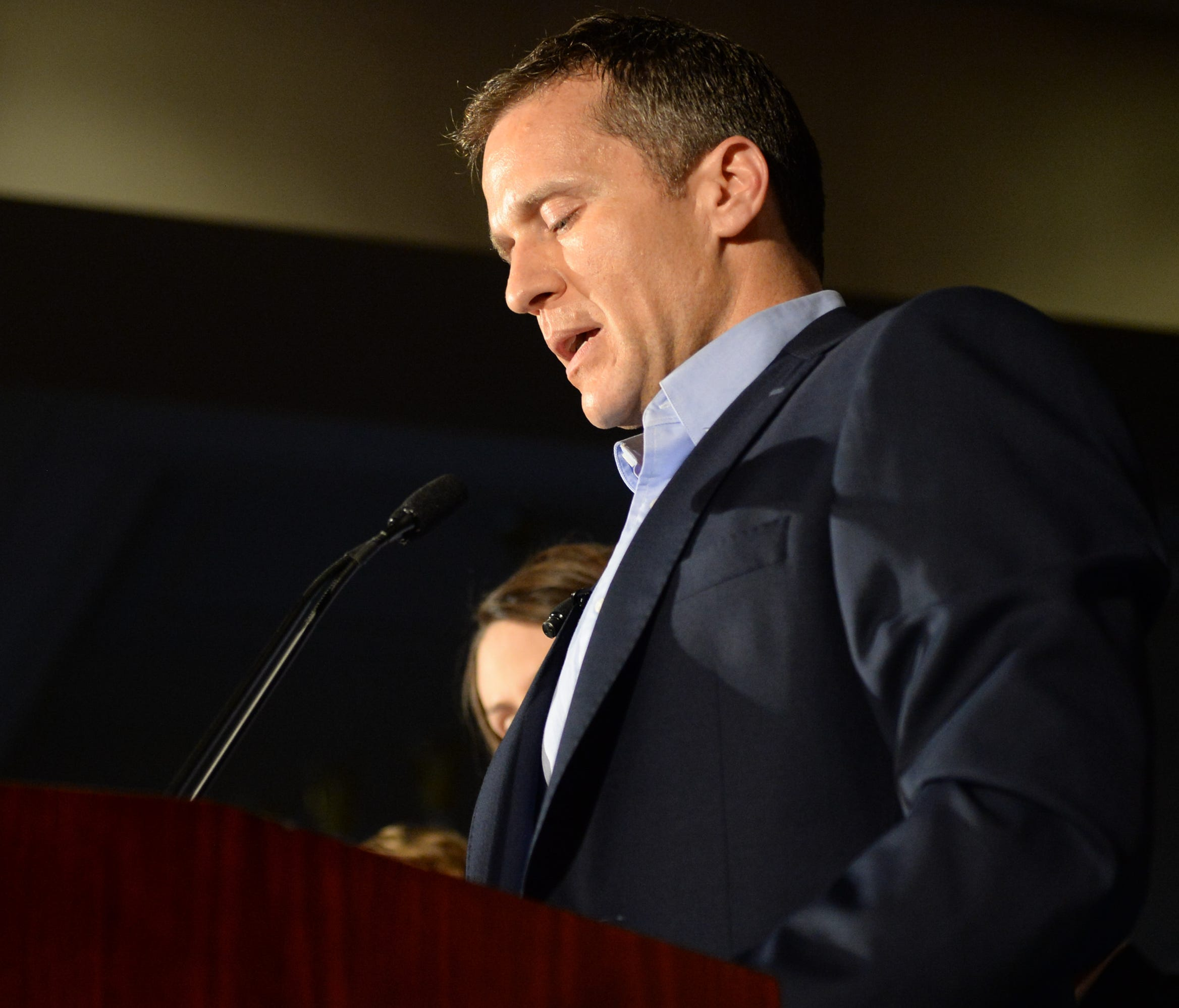 Then-candidate Eric Greitens speaks to a crowd of supporters Aug. 2, 2016, in Chesterfield. Some Missouri residents have been blocked from posting opinions on Gov. Greitens' social media accounts.