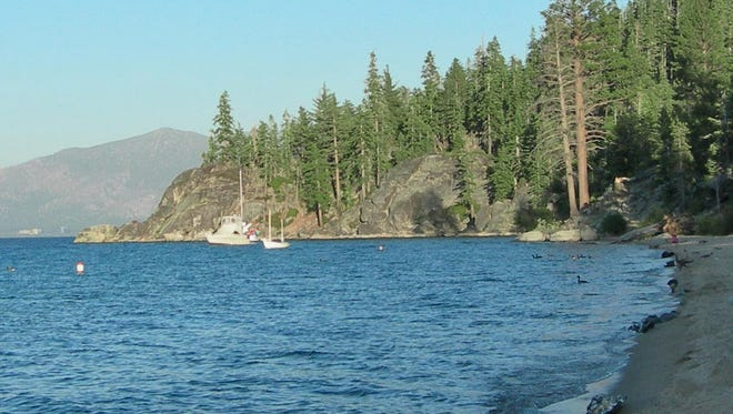 Boats lie moored in the waters off of D.L. Bliss State Park on the West Shore of Lake Tahoe.