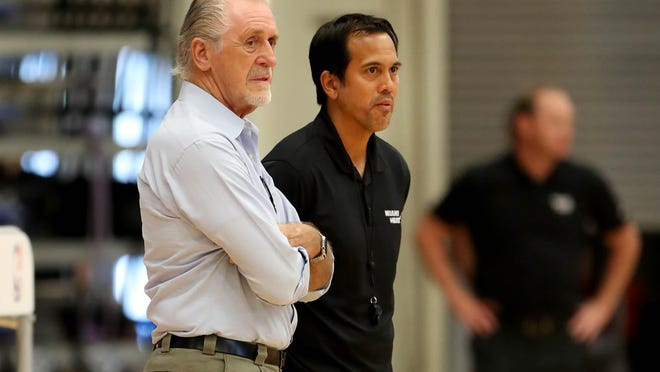 Miami Heat president Pat Riley and Miami Heat head coach Erik Spoelstra at a recent Miami Heat training camp.
