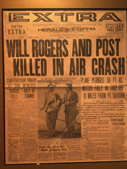 This front page newspaper announced Will Rogers' death