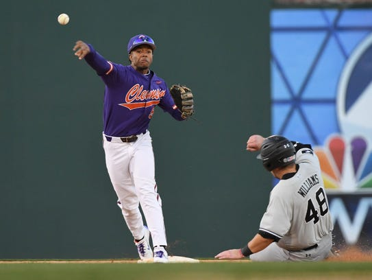 Clemson junior infielder Jordan Greene (9) turns a