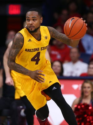 ASU guard Torian Graham in action against Arizona on Jan. 12, 2017 at McKale Center in Tucson, Arizona.