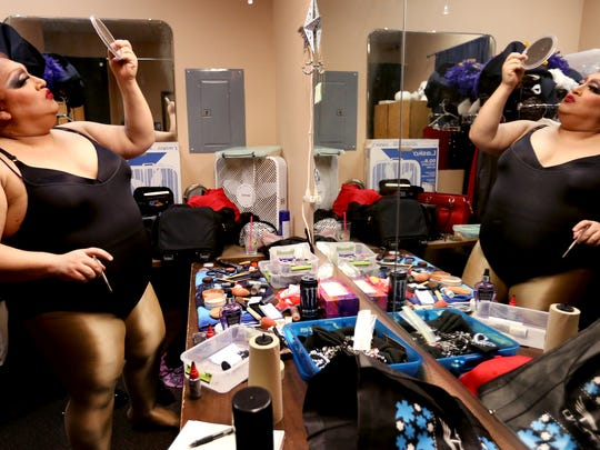 RiRi Calienté (Richard Arias Jr.) prepares for her last drag performance as Miss Southside Speakeasy. During his three years in the position, Arias organized monthly fundrasiers for charity at the Southside Speakeasy.