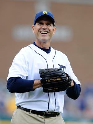 Jim Harbaugh will join Rick Leach for a home run derby to benefit the American Cancer Society after the Michigan Softball Academy May 5 at Alumni Field.