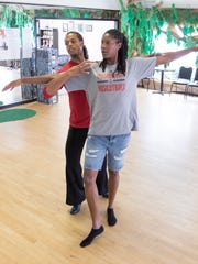 Local celebrity Michelle Snow, right, and professional dance instructor Kris Williams rehearse their routine for Life's A Dance at the Fred Astaire Dance Studios in Pensacola, FL on Monday, June 5, 2017.  The Life's A Dance charity event that will benefit Covenant Care will be held at the Saenger Theatre on Friday, June 16, 2017.