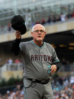 MINNEAPOLIS, MN - AUGUST 18: Ron Gardenhire #35 of the Arizona Diamondbacks waves to fans before the game against the Minnesota Twins on August 18, 2017 at Target Field in Minneapolis, Minnesota. Ron Gardenhire use to be the manager of the Minnesota Twins.