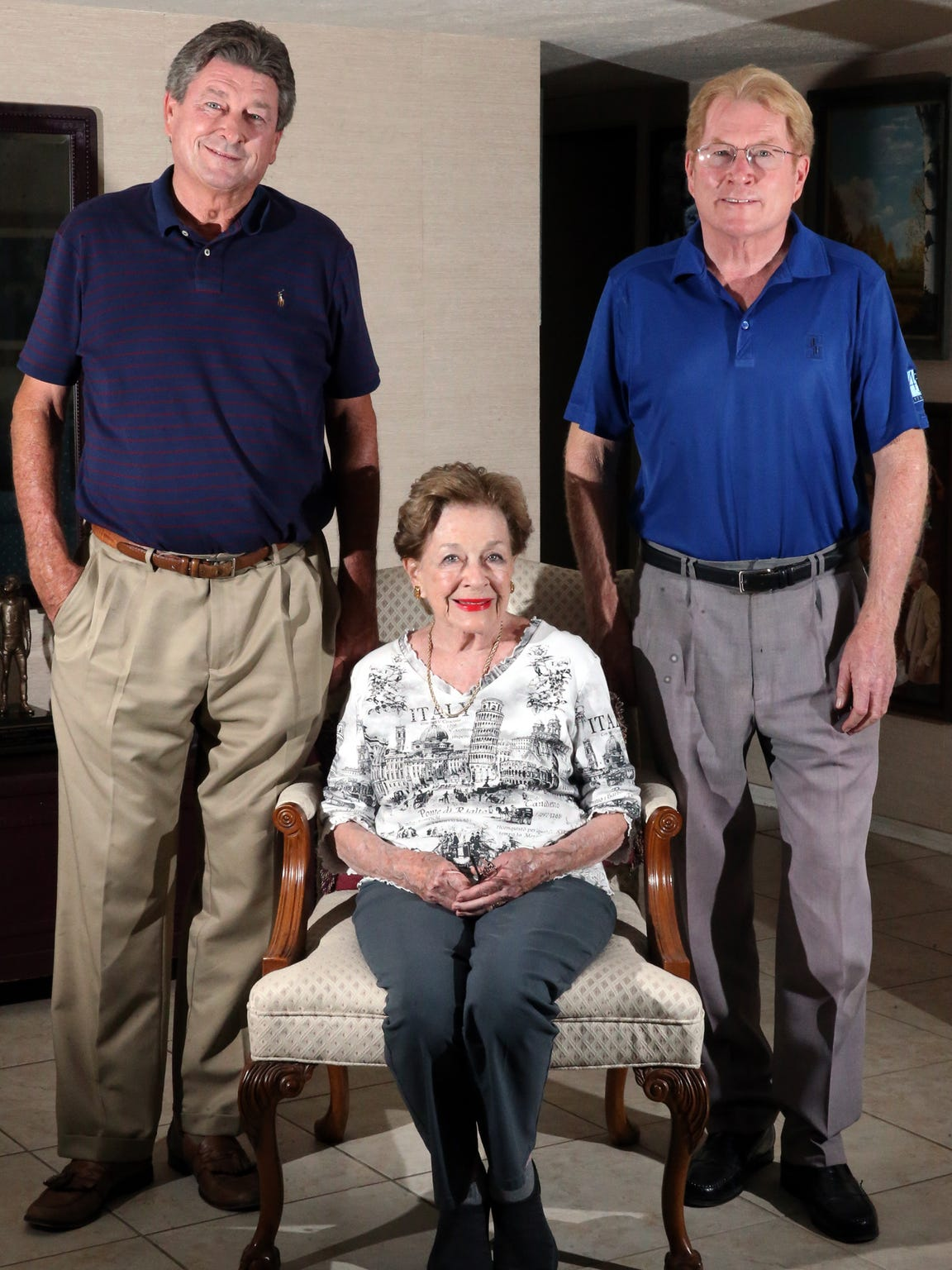Mary Haskins, widow of longtime Texas Western College and UTEP head basketball coach Don Haskins with sons Steve and Brent Haskins in her West El Paso home. Sept. 7 marks ten years since the passing of 'The Bear.'