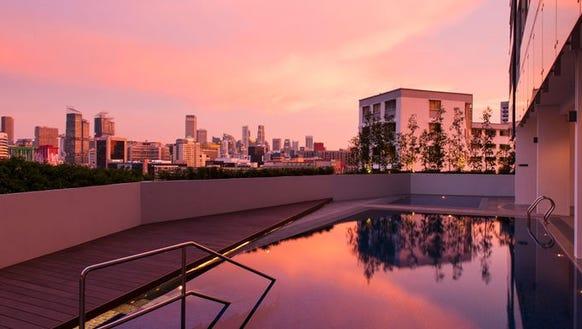 The eighth floor pool of the new Hilton Garden Inn