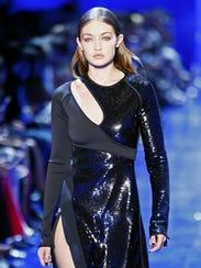 Model Gigi Hadid wears a creation for Mugler's Spring-Summer